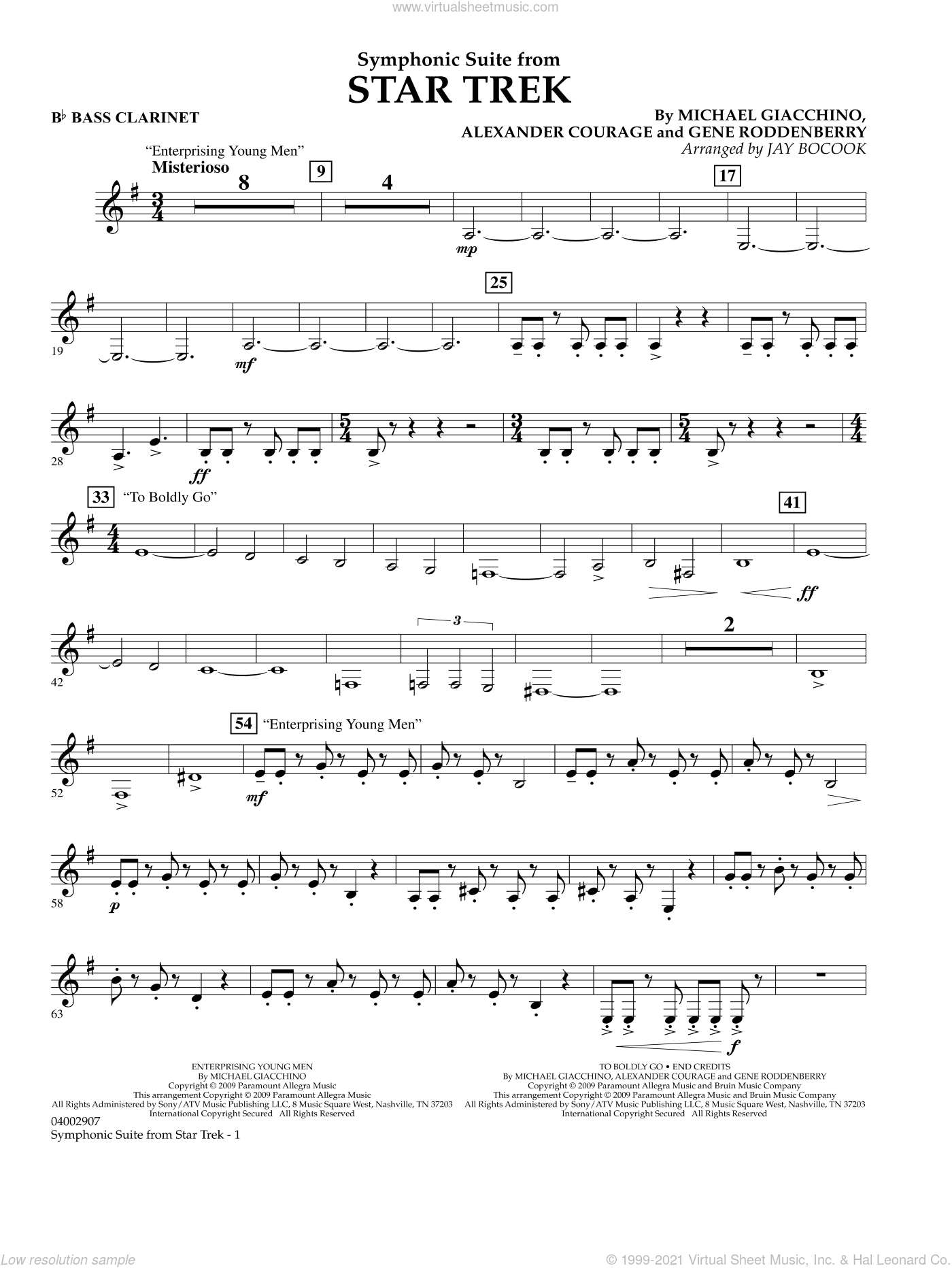 Symphonic Suite from Star Trek sheet music for concert band (Bb bass clarinet) by Alexander Courage