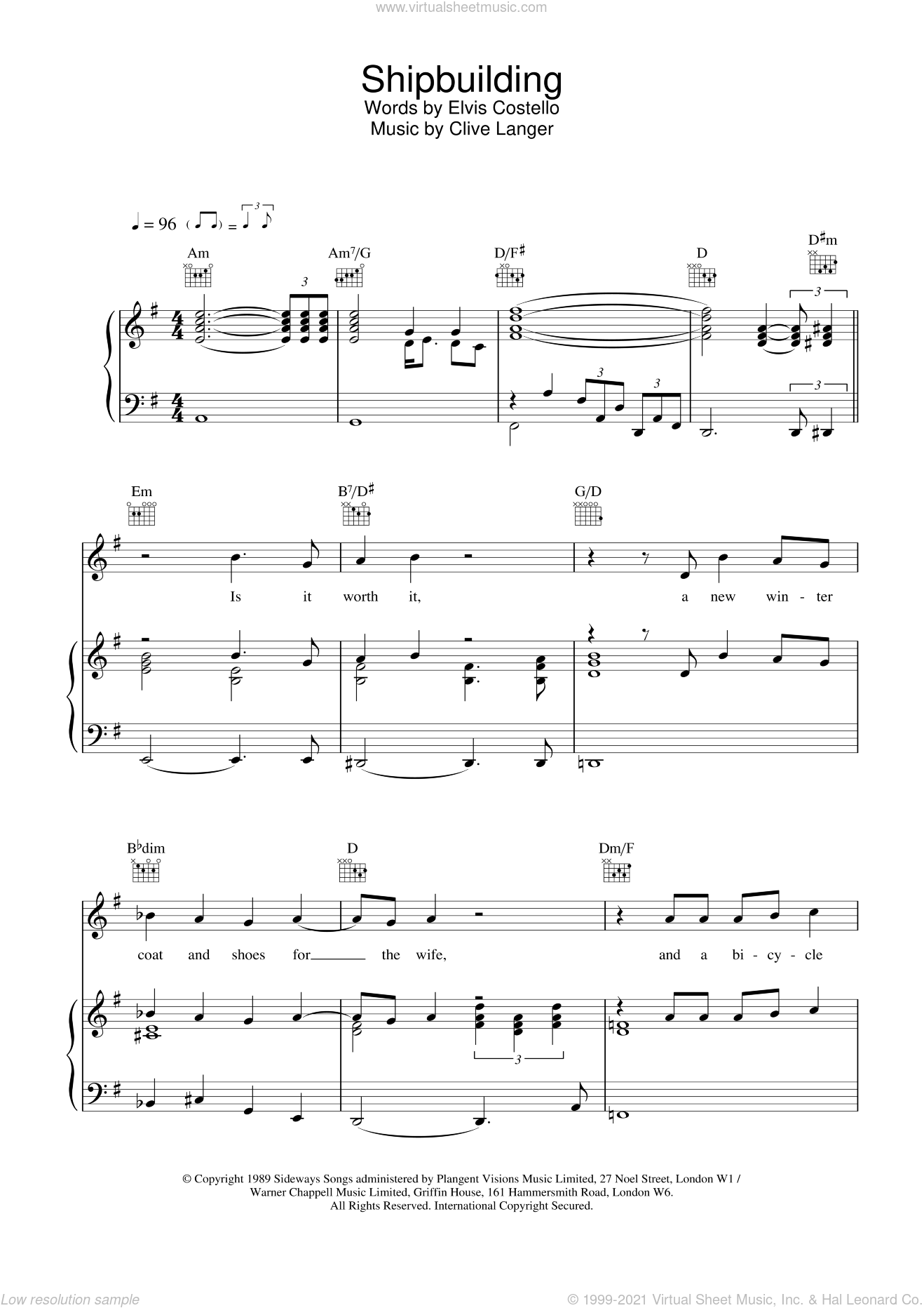 Shipbuilding sheet music for voice, piano or guitar by Elvis Costello, intermediate skill level