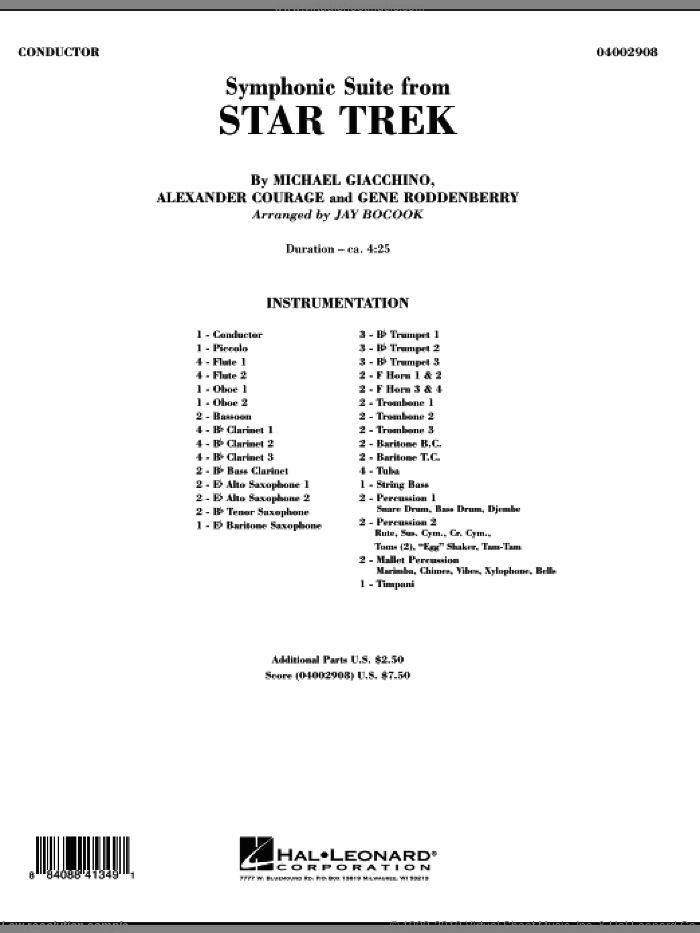 Symphonic Suite from Star Trek (COMPLETE) sheet music for concert band by Michael Giacchino, Alexander Courage, Gene Roddenberry and Jay Bocook, intermediate. Score Image Preview.