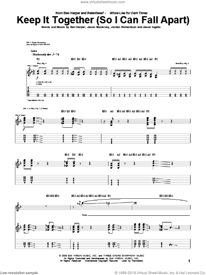 Keep It Together (So I Can Fall Apart) sheet music for guitar (tablature) by Ben Harper and Relentless7 and Ben Harper, intermediate. Score Image Preview.