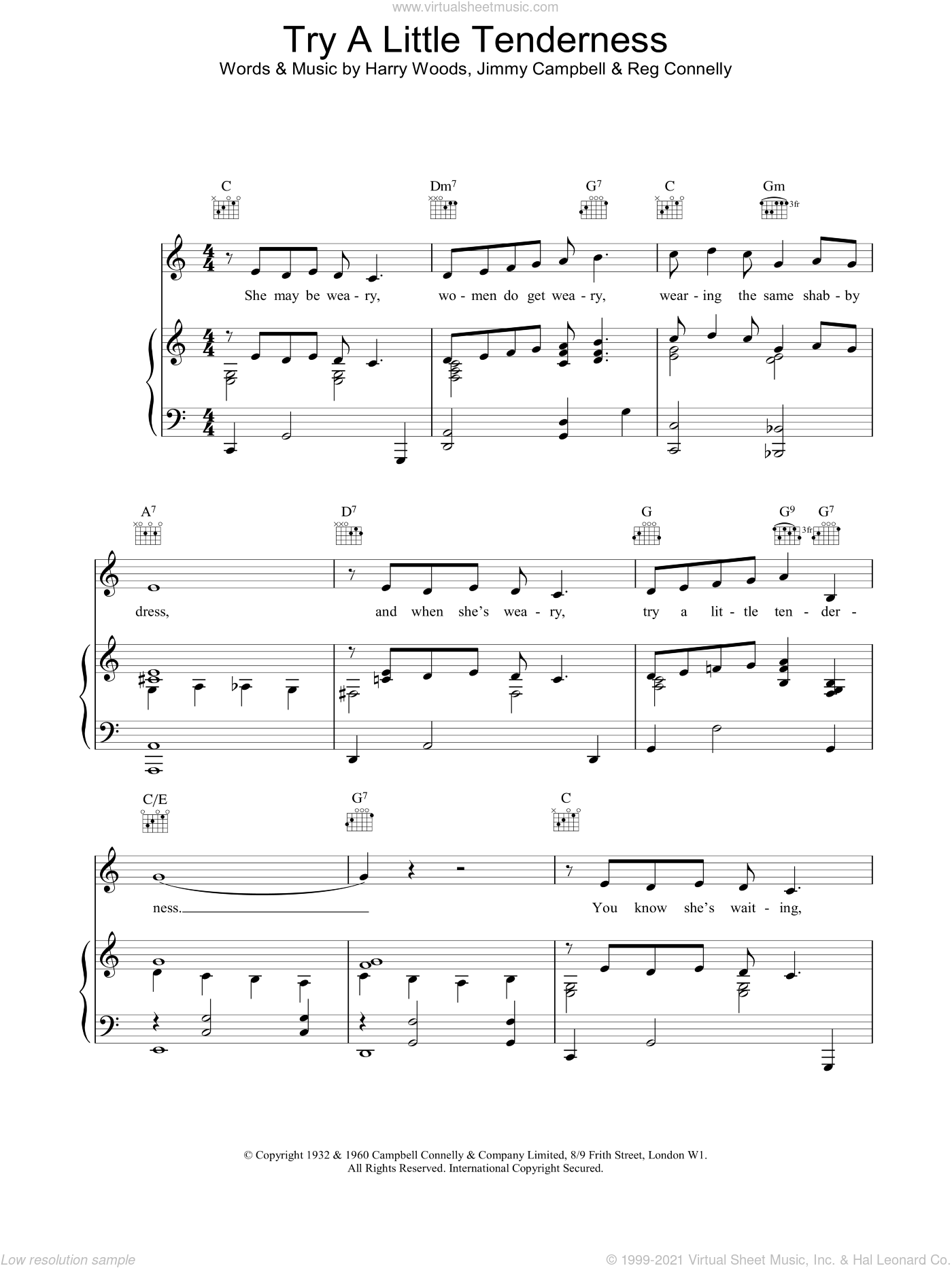 Try A Little Tenderness sheet music for voice, piano or guitar by The Commitments, intermediate voice, piano or guitar. Score Image Preview.