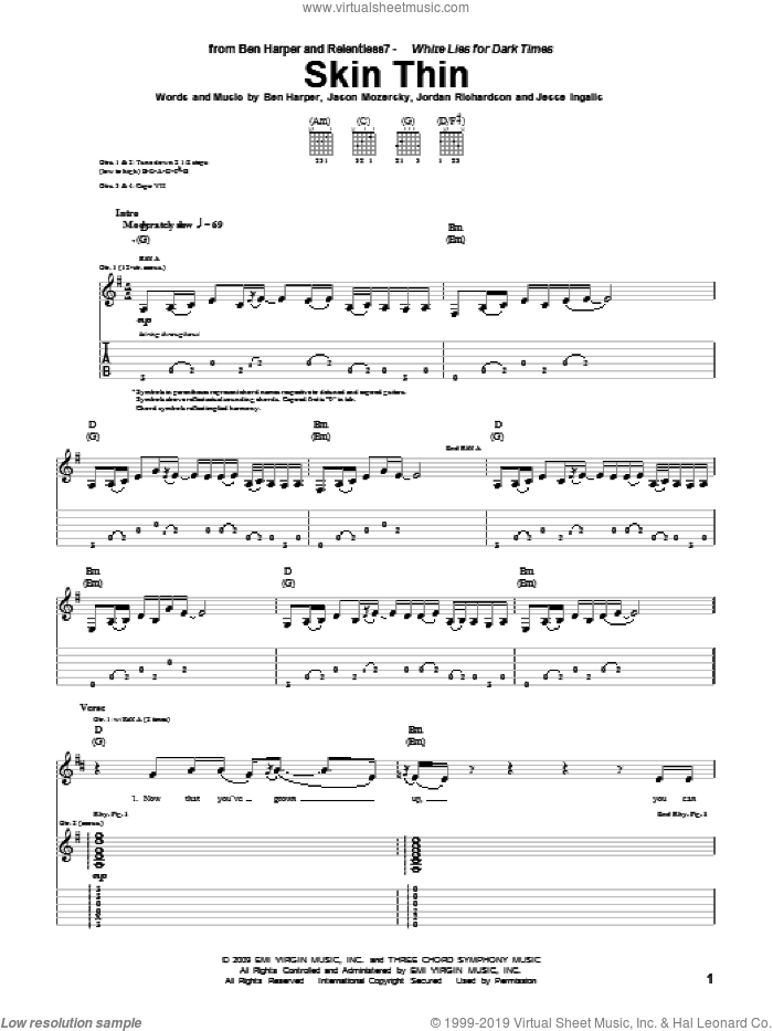 Skin Thin sheet music for guitar (tablature) by Jordan Richardson and Ben Harper and Relentless7 and Ben Harper. Score Image Preview.