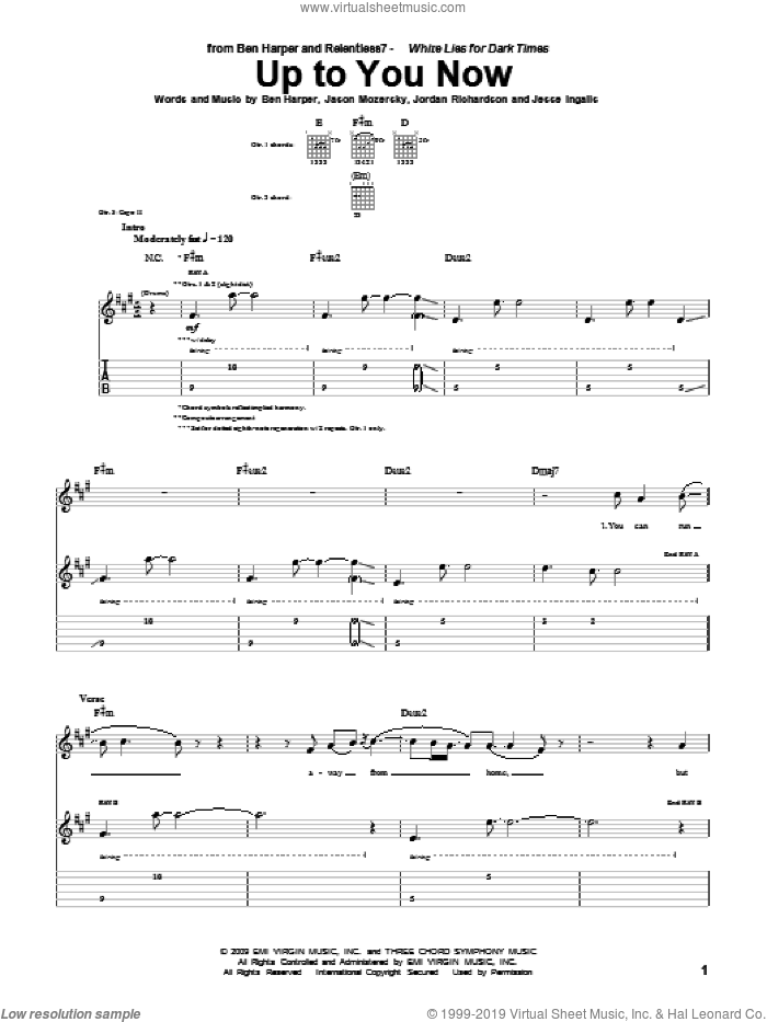 Up To You Now sheet music for guitar (tablature) by Ben Harper and Relentless7 and Ben Harper, intermediate. Score Image Preview.