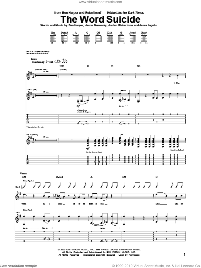 The Word Suicide sheet music for guitar (tablature) by Ben Harper and Relentless7, Ben Harper, Jason Mozersky, Jesse Ingalls and Jordan Richardson, intermediate. Score Image Preview.