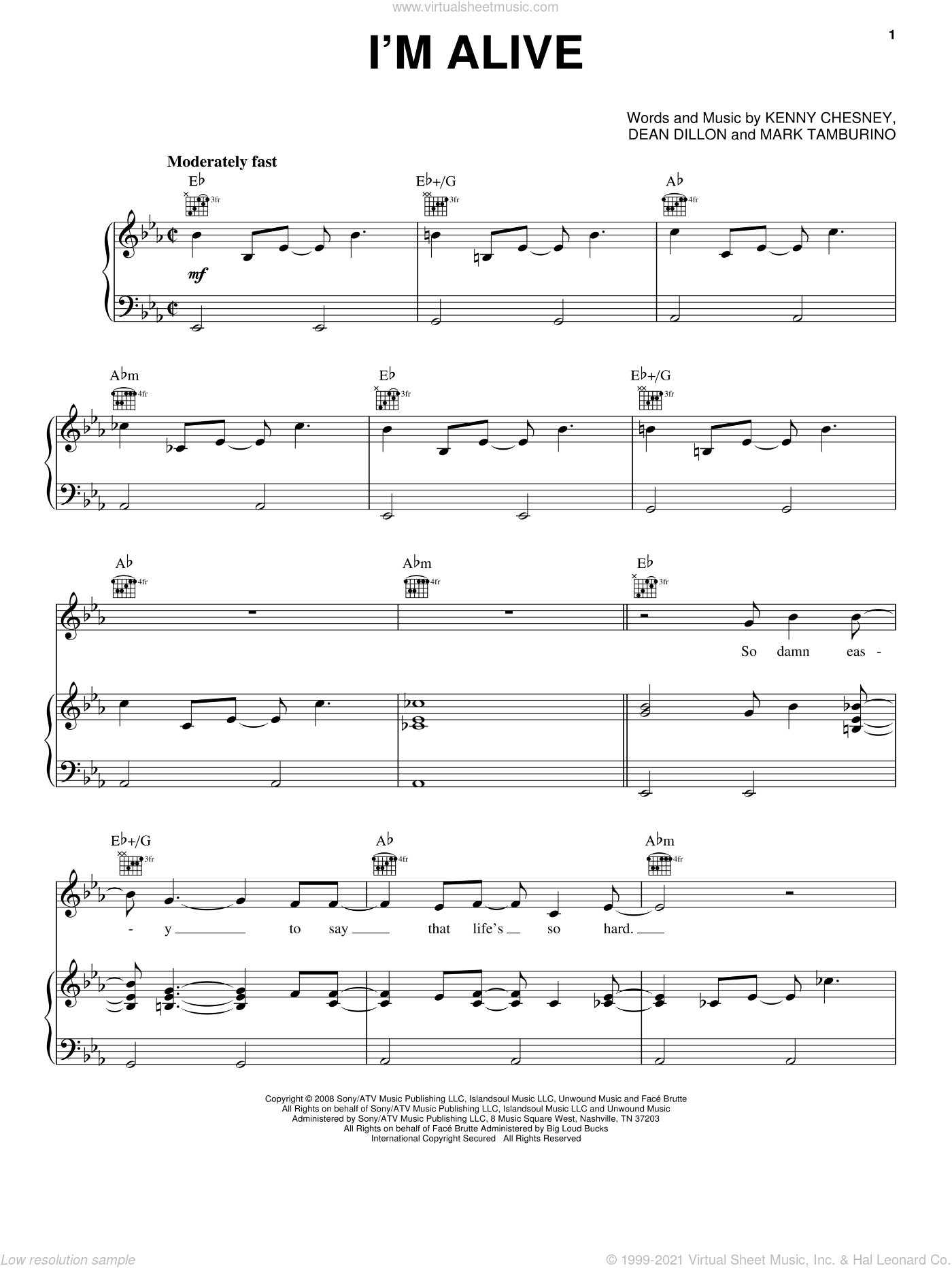 I'm Alive sheet music for voice, piano or guitar by Kenny Chesney with Dave Matthews, Dave Matthews, Dean Dillon and Kenny Chesney, intermediate voice, piano or guitar. Score Image Preview.