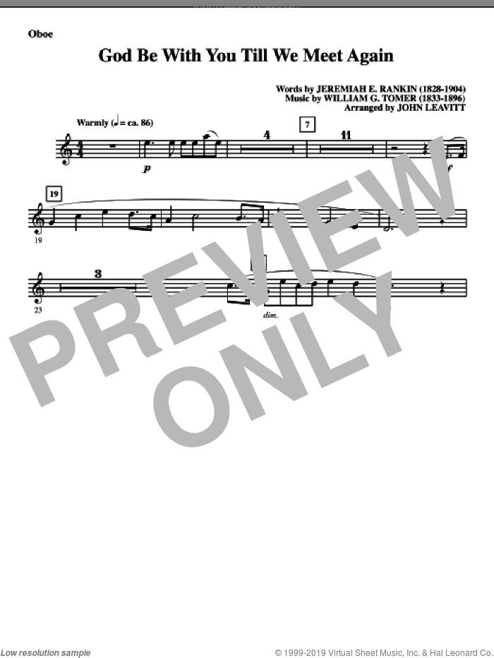 God Be With You Till We Meet Again sheet music for orchestra/band (oboe) by Jeremiah E. Rankin