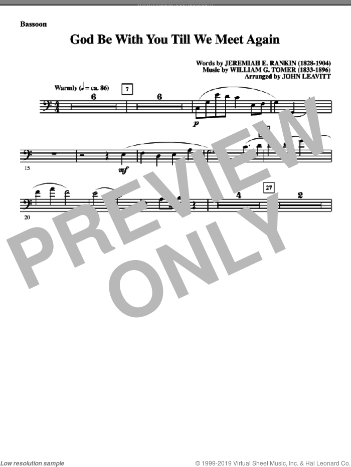 God Be With You Till We Meet Again sheet music for orchestra/band (bassoon) by Jeremiah E. Rankin