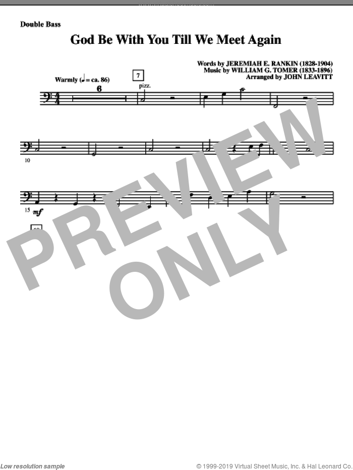 God Be With You Till We Meet Again sheet music for orchestra/band (double bass) by Jeremiah E. Rankin