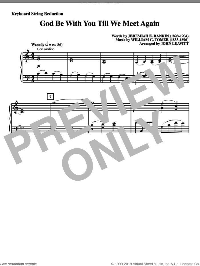 God Be With You Till We Meet Again sheet music for orchestra/band (keyboard string reduction) by Jeremiah E. Rankin