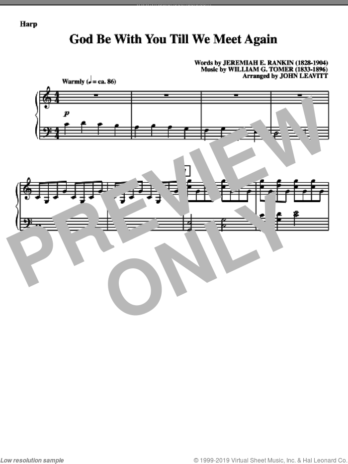 God Be With You Till We Meet Again sheet music for orchestra/band (harp) by Jeremiah E. Rankin