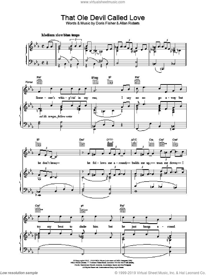 That Ole Devil Called Love sheet music for voice, piano or guitar by Billie Holiday, intermediate skill level
