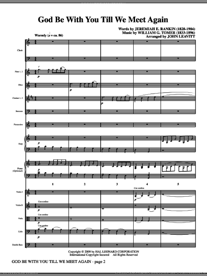 God Be With You Till We Meet Again (COMPLETE) sheet music for orchestra/band (Orchestra) by Jeremiah E. Rankin, William G. Tomer and John Leavitt, intermediate skill level