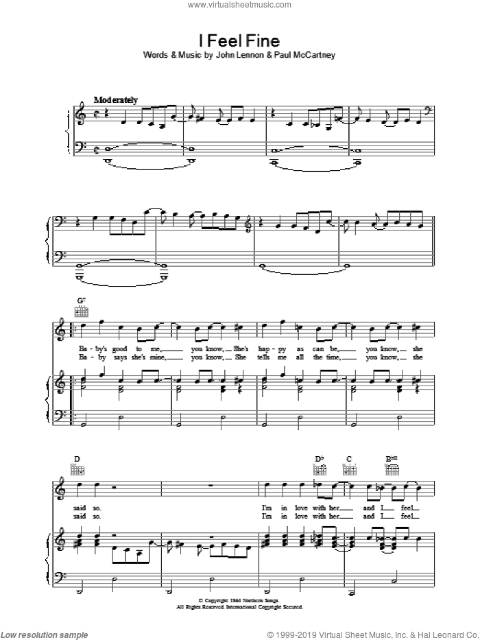 I Feel Fine sheet music for voice, piano or guitar by The Beatles. Score Image Preview.