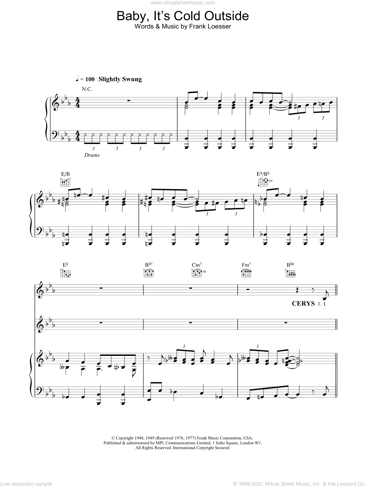Baby, It's Cold Outside sheet music for voice, piano or guitar by Tom Jones and Cerys Matthews, intermediate skill level