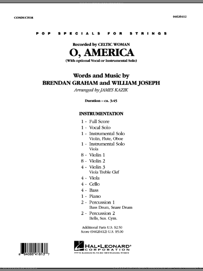 O, America sheet music for orchestra (full score) by Brendan Graham