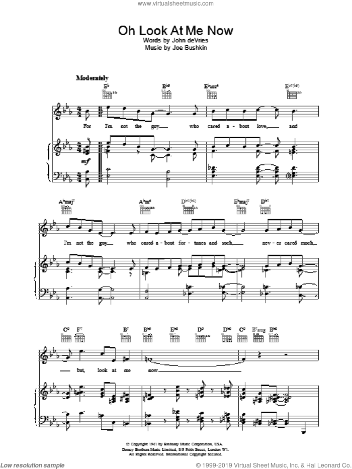 Oh Look At Me Now sheet music for voice, piano or guitar by Frank Sinatra. Score Image Preview.