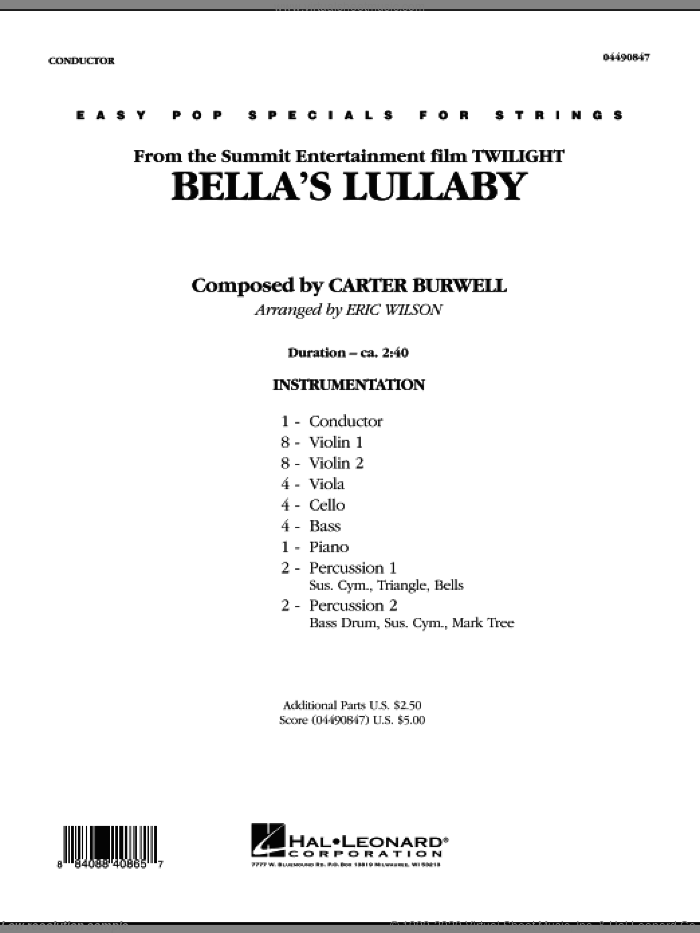 Bella's Lullaby (from 'Twilight') (COMPLETE) sheet music for orchestra by Carter Burwell and Eric Wilson, intermediate skill level