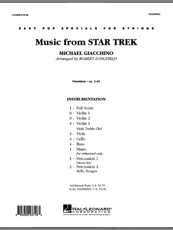 Music from Star Trek (COMPLETE) sheet music for orchestra by Robert Longfield, intermediate skill level