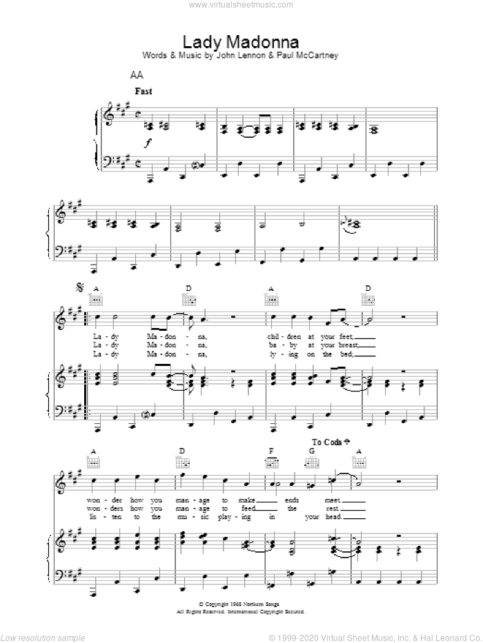 Lady Madonna sheet music for voice, piano or guitar by The Beatles. Score Image Preview.