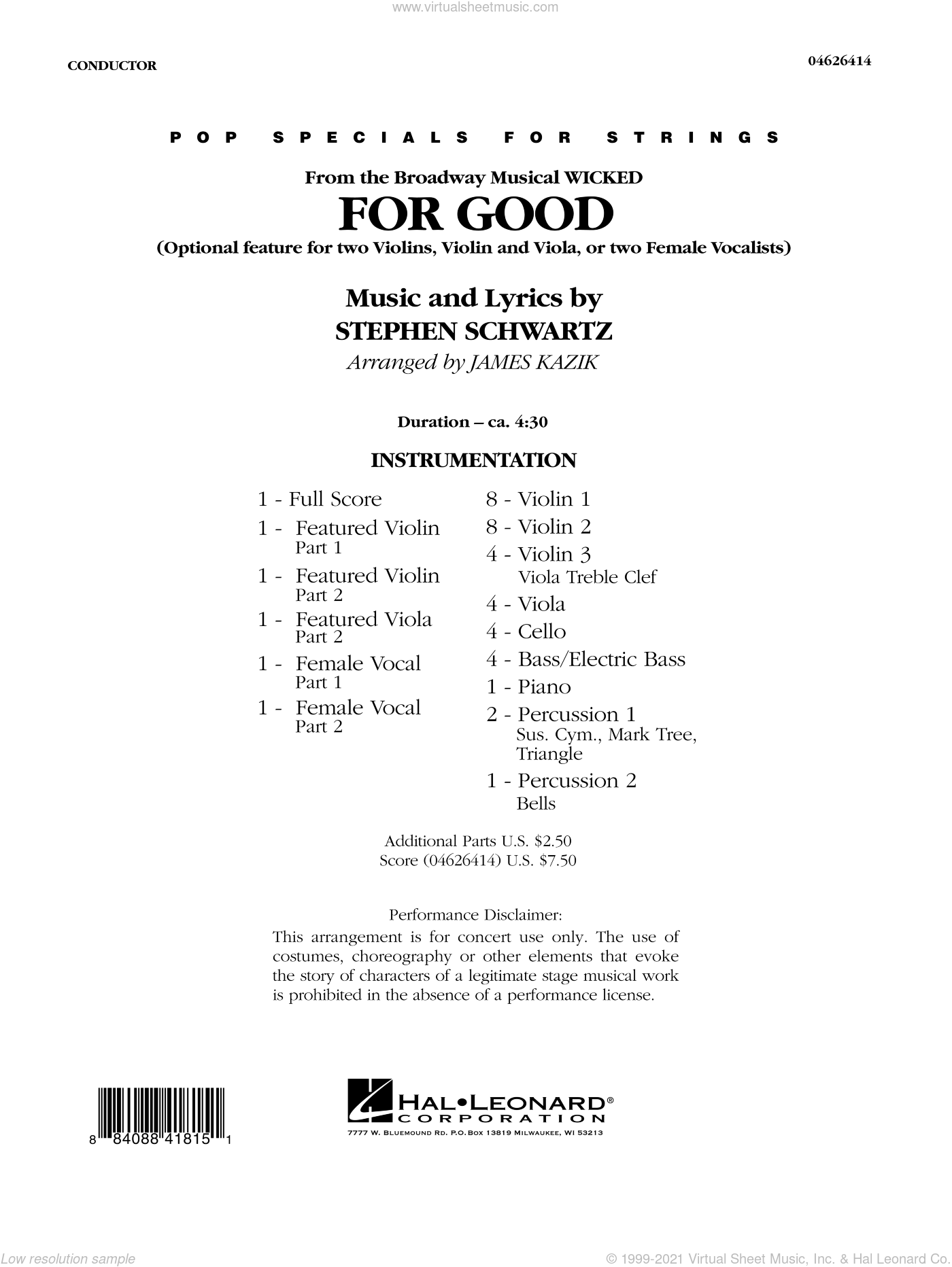 For Good (Duet Feature from Wicked) sheet music for orchestra (full score) by Stephen Schwartz