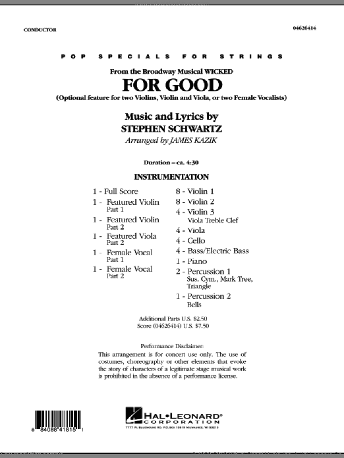 For Good (Duet Feature from Wicked) (COMPLETE) sheet music for orchestra by Stephen Schwartz and James Kazik, intermediate skill level