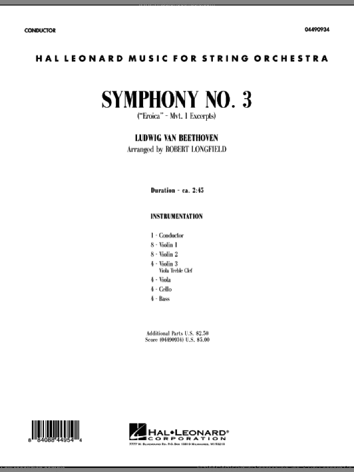 Symphony No. 3 ('Eroica' - Mvt. 1 Excerpts) (COMPLETE) sheet music for orchestra by Ludwig van Beethoven and Robert Longfield, classical score, intermediate skill level
