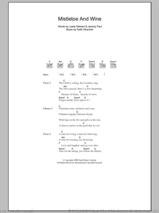 Mistletoe And Wine sheet music for guitar (chords) by Leslie Stewart