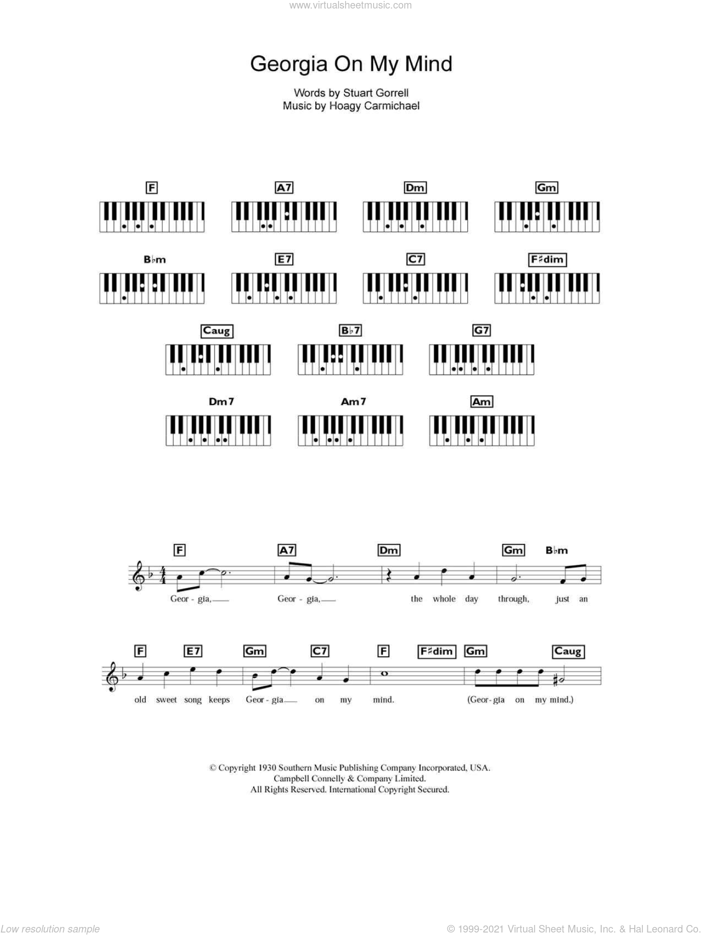 Georgia On My Mind sheet music for piano solo (chords, lyrics, melody) by Ray Charles, Hoagy Carmichael and Stuart Gorrell, intermediate piano (chords, lyrics, melody)
