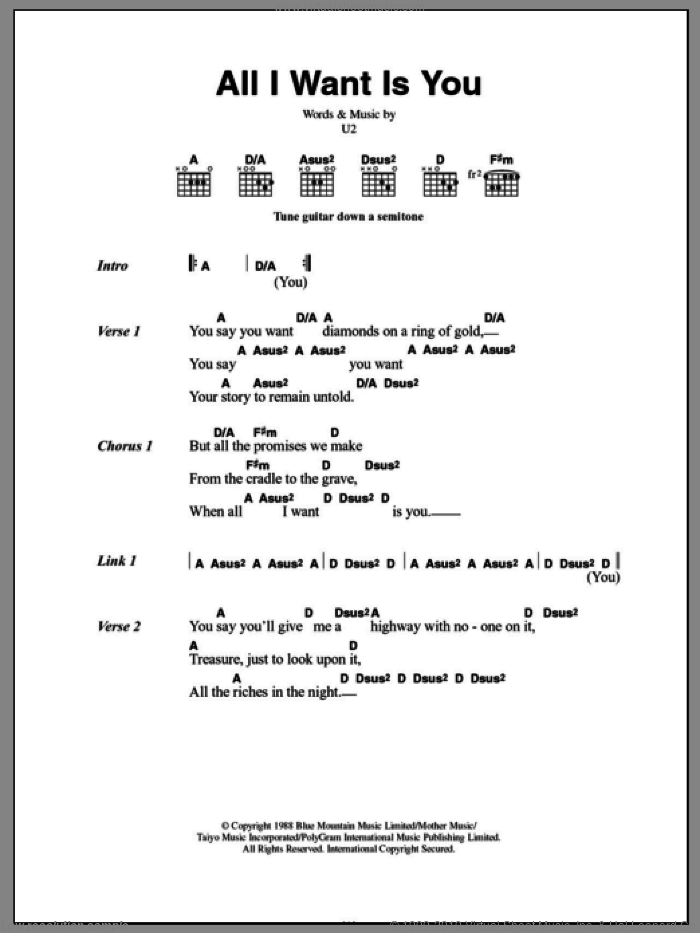 U2 - All I Want Is You sheet music for guitar (chords) [PDF]