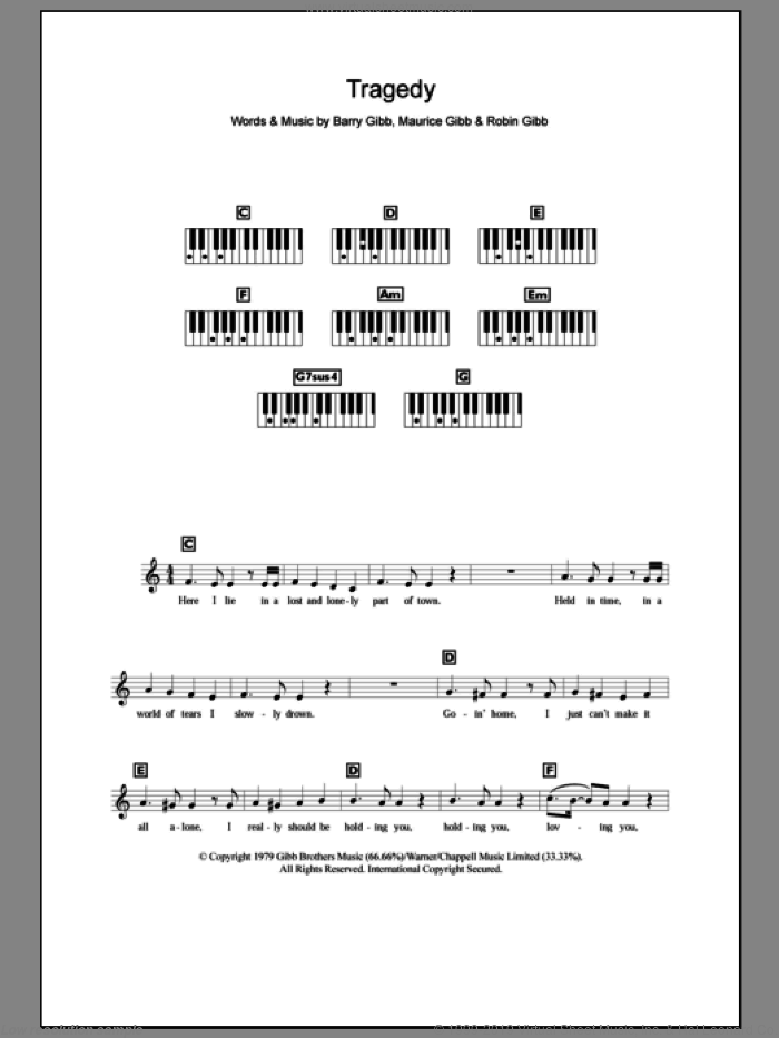 Tragedy sheet music for piano solo (chords, lyrics, melody) by Bee Gees, Barry Gibb, Maurice Gibb and Robin Gibb. Score Image Preview.