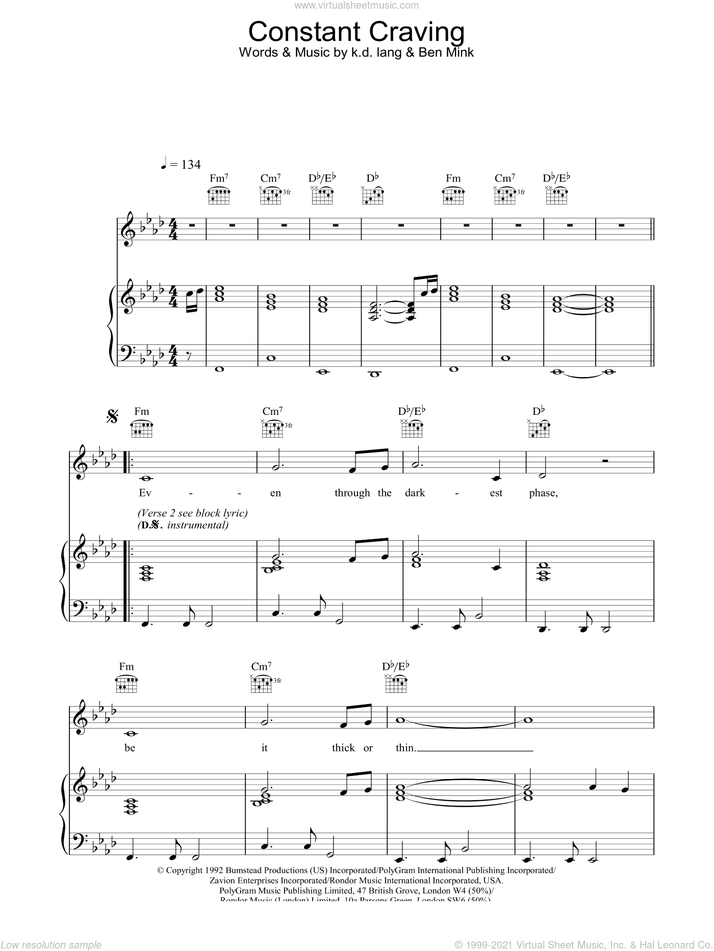 Constant Craving sheet music for voice, piano or guitar by K.D. Lang. Score Image Preview.