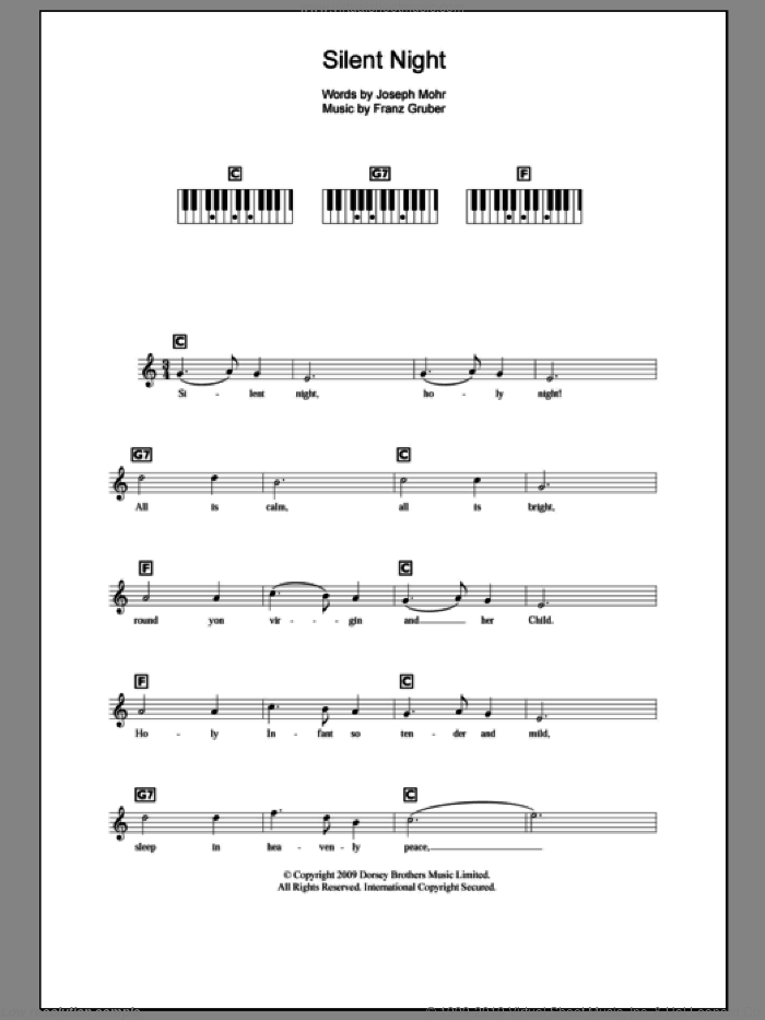 Silent Night sheet music for piano solo (chords, lyrics, melody) by Joseph Mohr and Franz Gruber, intermediate piano (chords, lyrics, melody)