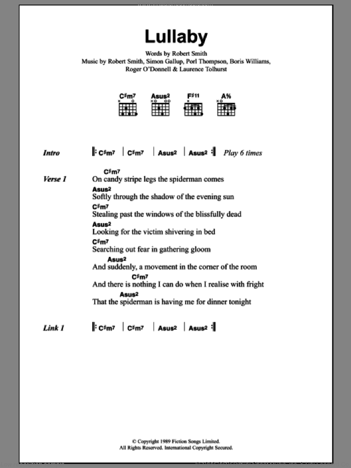 Lullaby sheet music for guitar (chords, lyrics, melody) by Simon Gallup
