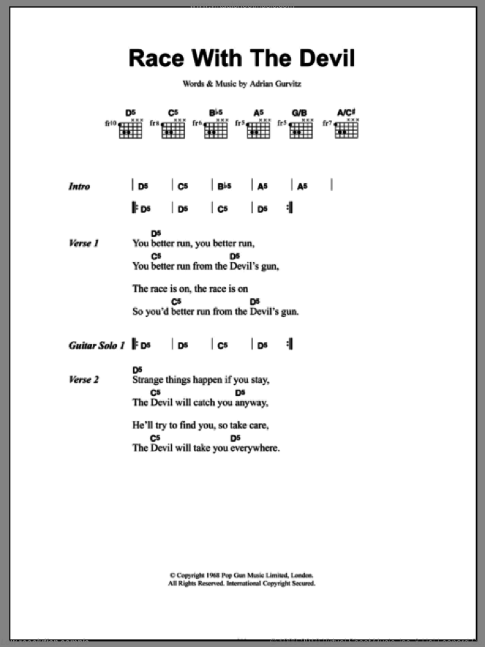 Race With The Devil sheet music for guitar (chords) by Adrian Gurvitz
