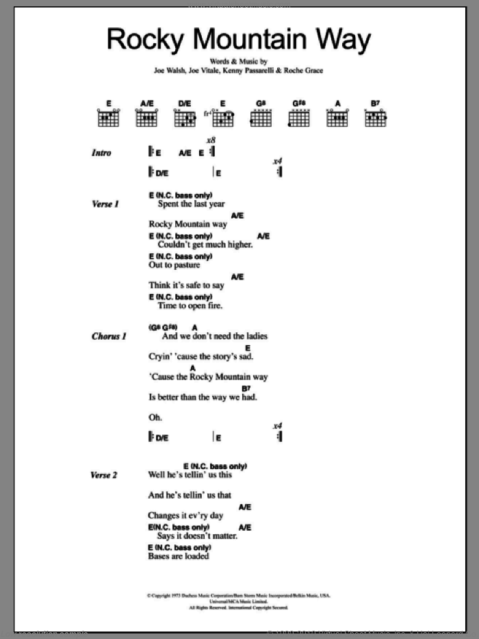 Rocky Mountain Way sheet music for guitar (chords) by Rocke Grace and Joe Walsh. Score Image Preview.