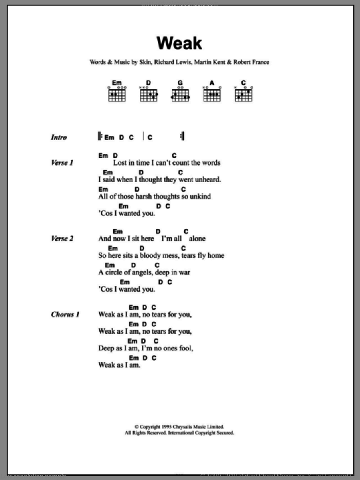 Weak sheet music for guitar (chords) by Skin and Skunk Anansie. Score Image Preview.