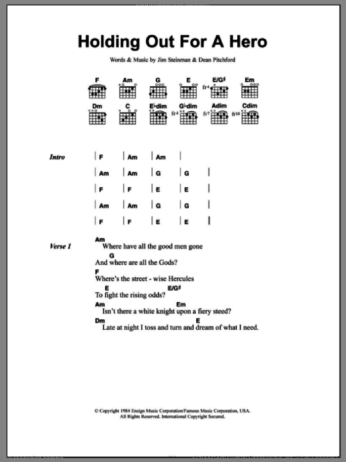 Holding Out For A Hero sheet music for guitar (chords) by Bonnie Tyler, Dean Pitchford and Jim Steinman, intermediate skill level
