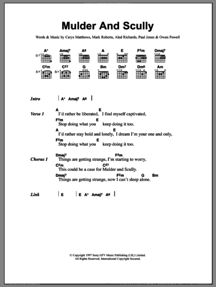 Mulder And Scully sheet music for guitar (chords, lyrics, melody) by Paul Jones