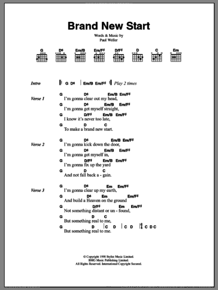 Brand New Start sheet music for guitar (chords) by Paul Weller. Score Image Preview.