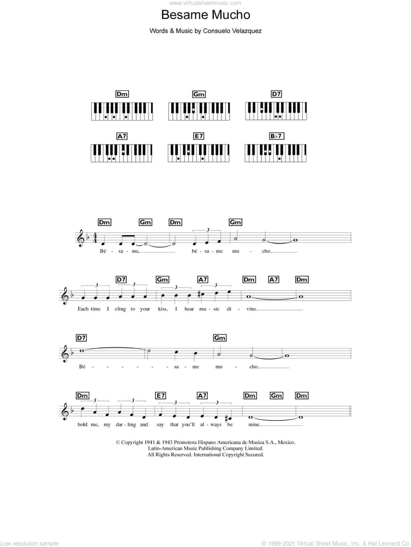 Besame Mucho (Kiss Me Much) sheet music for piano solo (chords, lyrics, melody) by Consuelo Velazquez