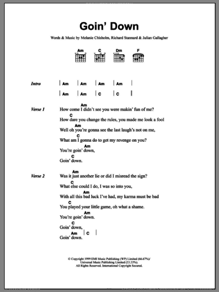 Goin' Down sheet music for guitar (chords) by Melanie Chisholm, Chisholm Melanie, Julian Gallagher and Richard Stannard, intermediate. Score Image Preview.