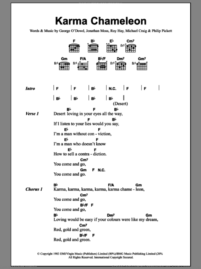 Karma Chameleon sheet music for guitar (chords, lyrics, melody) by Roy Hay