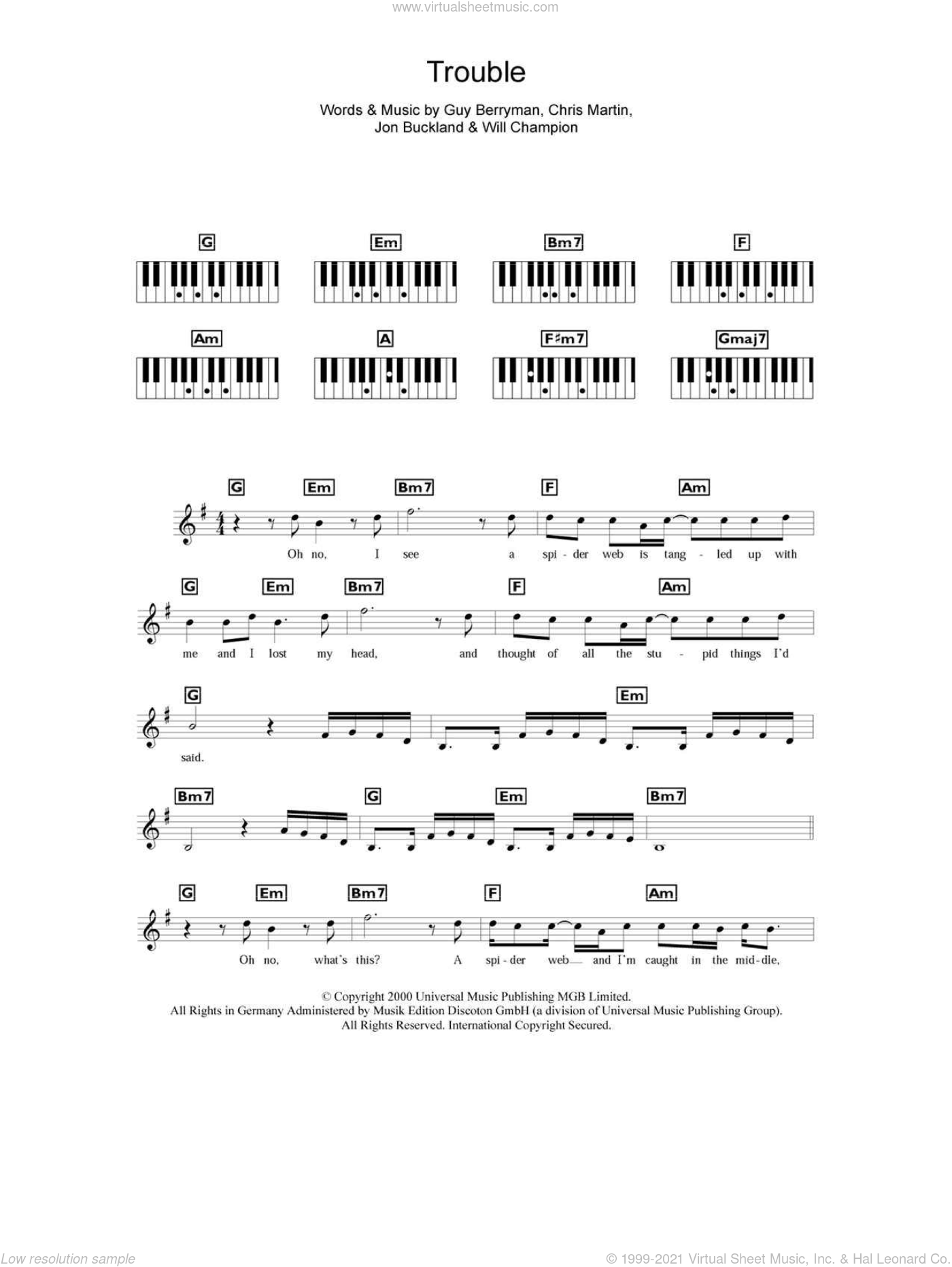 Trouble sheet music for piano solo (chords, lyrics, melody) by Will Champion, Coldplay, Chris Martin, Guy Berryman and Jon Buckland. Score Image Preview.