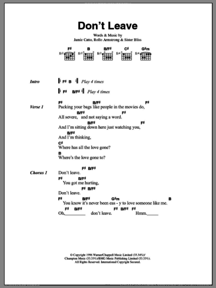 Don't Leave sheet music for guitar (chords) by Sister Bliss and Rollo Armstrong. Score Image Preview.