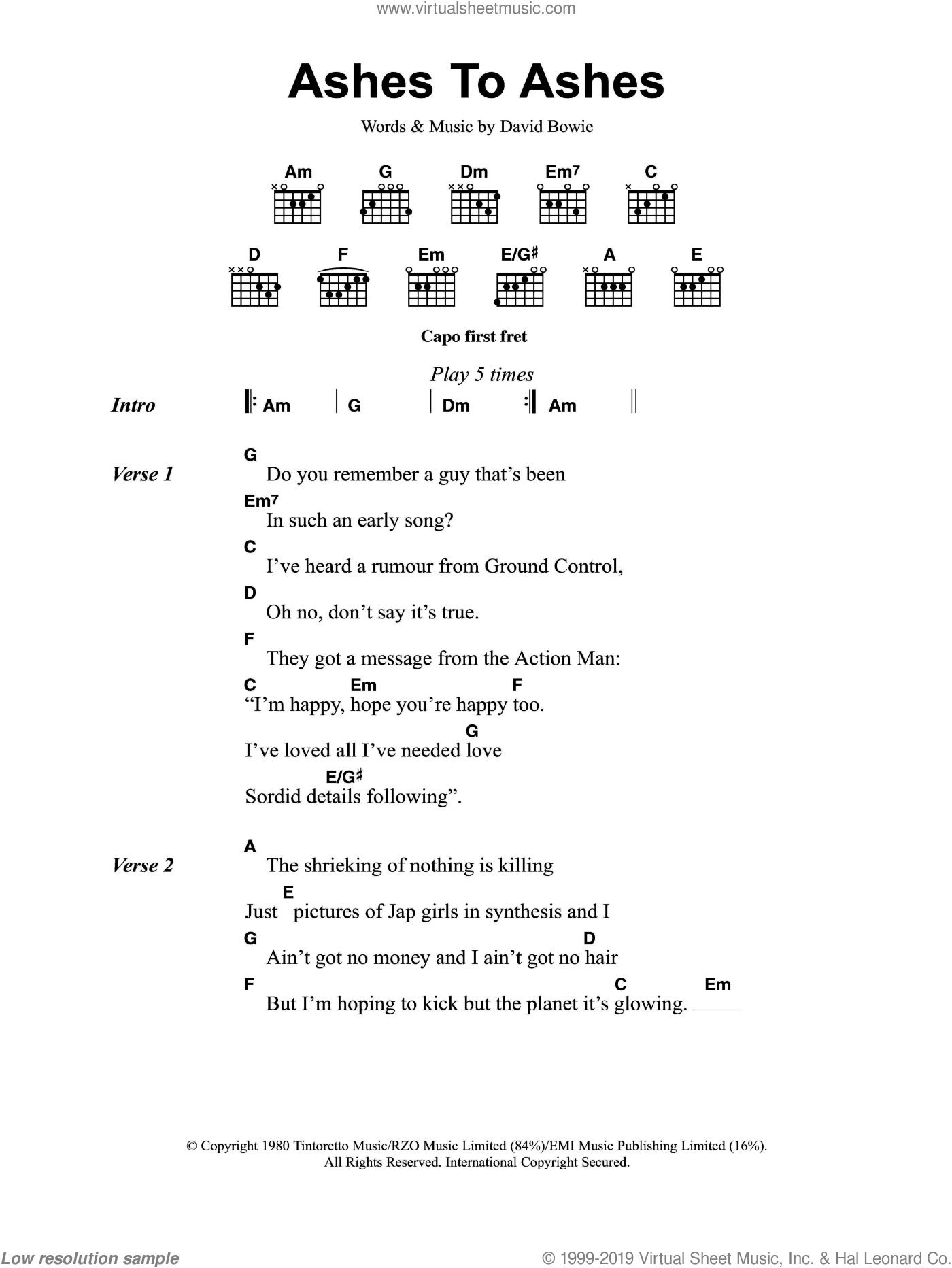 Bowie - Ashes To Ashes sheet music for guitar (chords) [PDF]