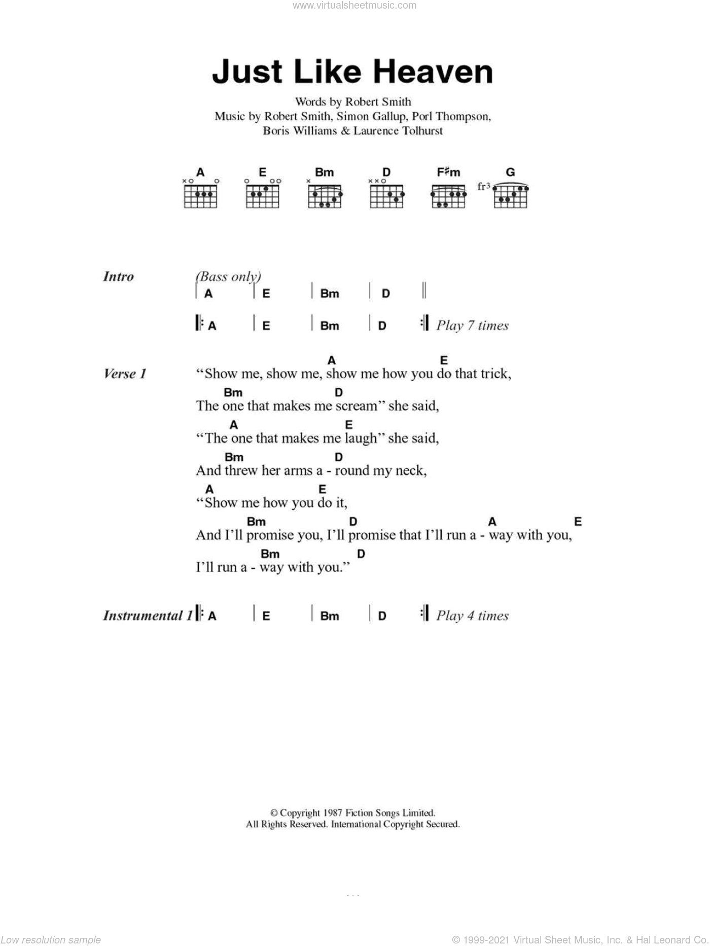 Just Like Heaven sheet music for guitar (chords) by The Cure. Score Image Preview.