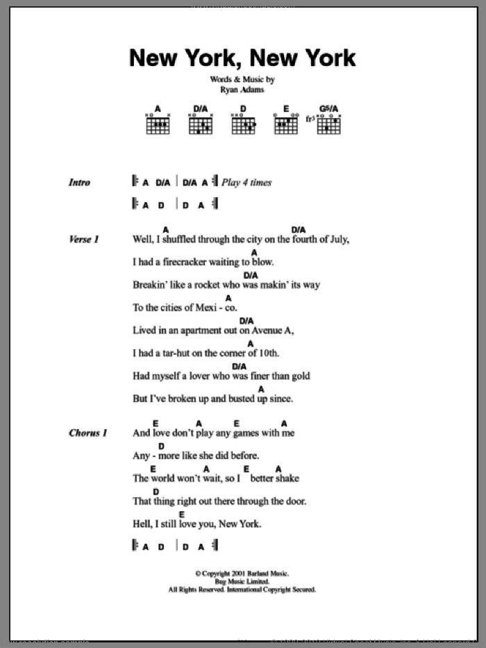 New York, New York sheet music for guitar (chords) by Ryan Adams. Score Image Preview.