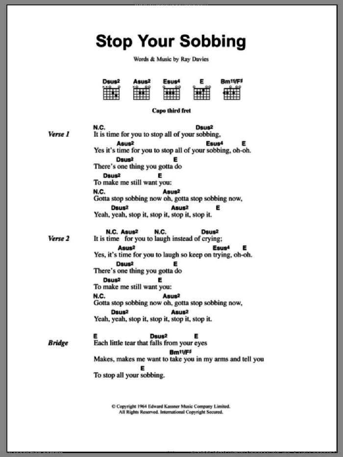 Stop Your Sobbing sheet music for guitar (chords) by The Pretenders, Shania Twain and Ray Davies, intermediate guitar (chords). Score Image Preview.