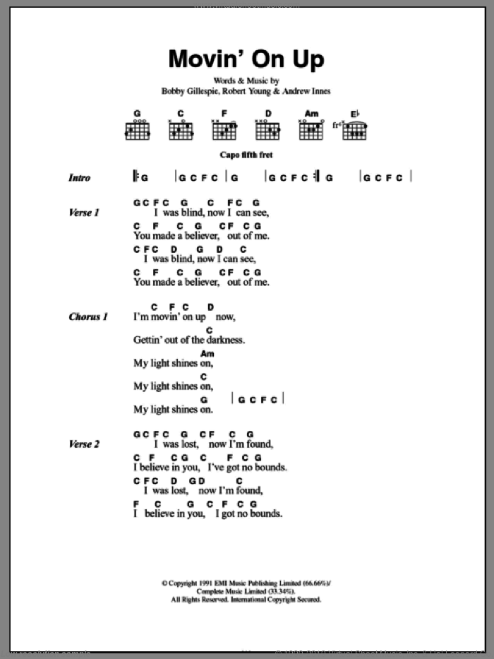 Movin' On Up sheet music for guitar (chords) by Primal Scream and The New Radicals, intermediate guitar (chords). Score Image Preview.