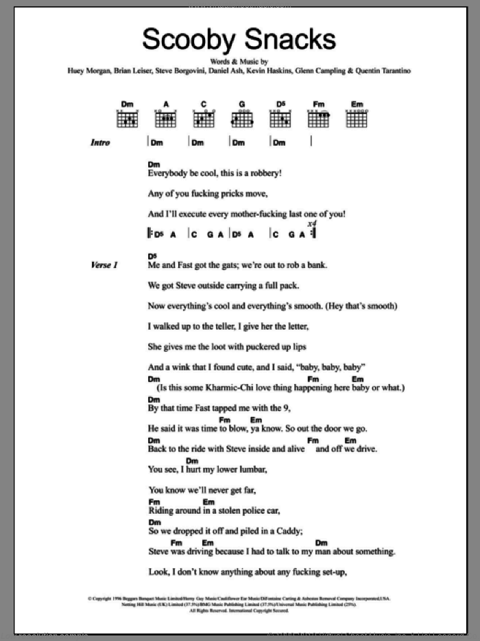 Criminals Scooby Snacks Sheet Music For Guitar Chords Pdf